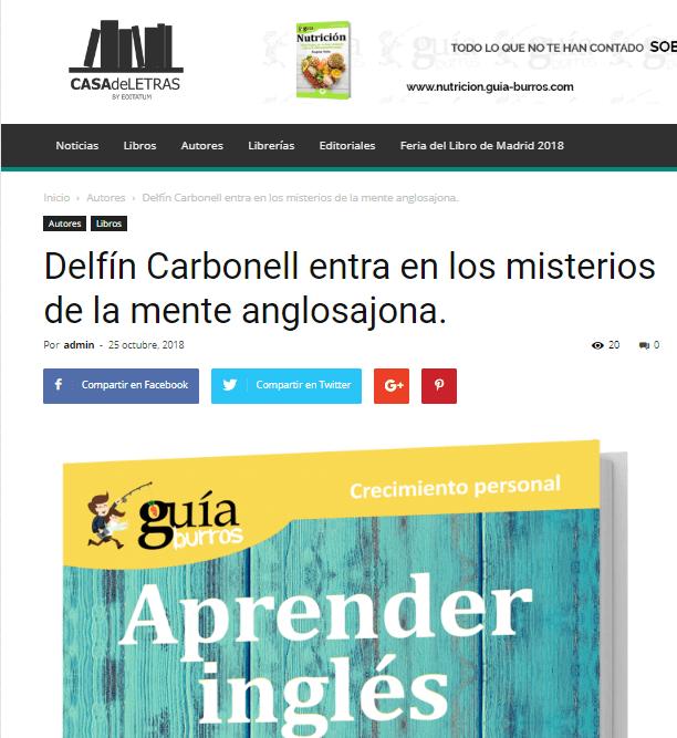Casa de Letras, medio especializado en libros, habla sobre el último título de Delfín Carbonell